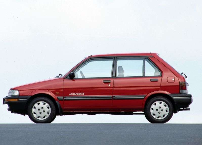 Subaru Justy 1 (KAD) [restyling] Hatchback 1.0 MT AWD (1989–1994)