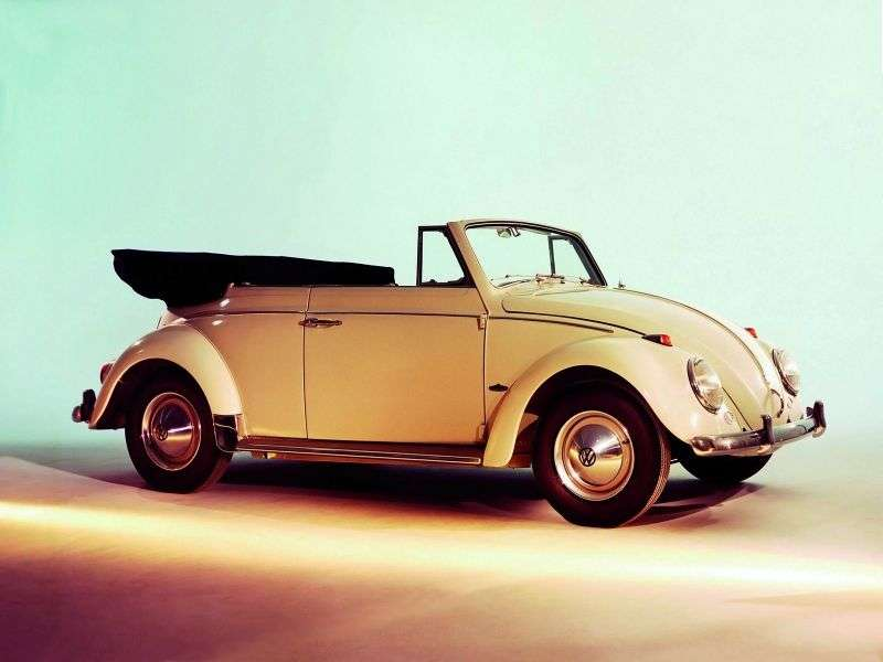 Volkswagen Beetle 1200/1300/1500 [restyling] 1.2 MT convertible (1953–1965)
